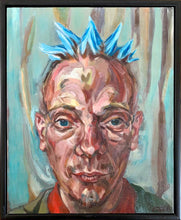 Load image into Gallery viewer, Spikey bed o' nails performer oil painting on canvas in green and blue by London based portrait artist Stella Tooth Display