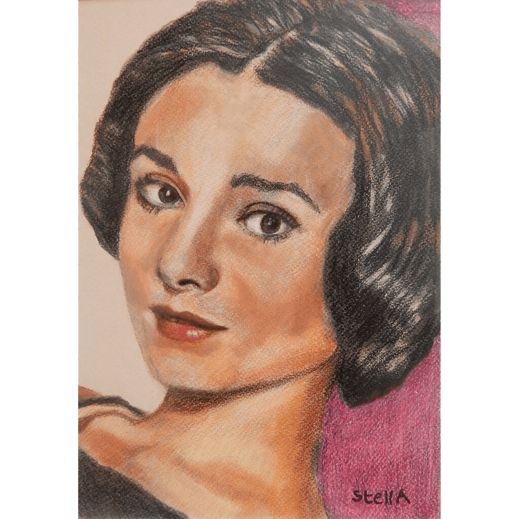 Audrey Hepburn Pastel Artwork by Stella Tooth