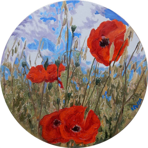 Poppies Original Oil Painting on Round Canvas by Stella Tooth