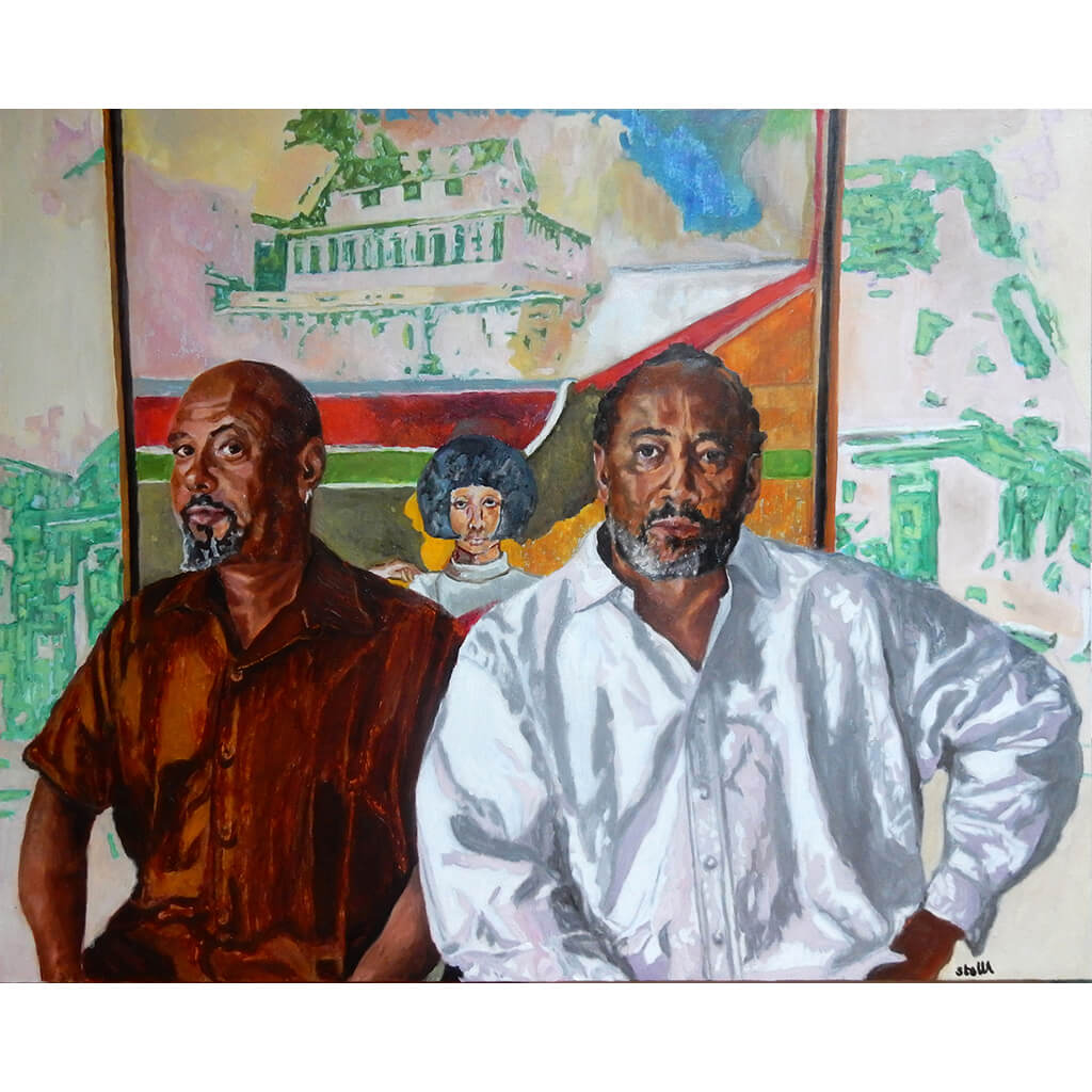 Frank Bowling  'Cover Girl' painting with Ben and Sacha oil portrait by Stella Tooth