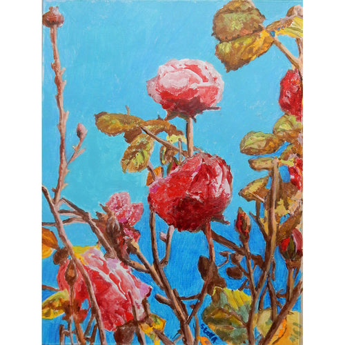Take time to smell the roses oil on canvas by Stella Tooth