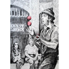 Load image into Gallery viewer, Juggling busker Corey Pickett performing in Covent Garden London pencil drawing on paper by Stella Tooth portrait artist