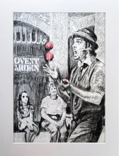 Load image into Gallery viewer, Juggling busker Corey Pickett performing in Covent Garden London pencil drawing on paper by Stella Tooth portrait artist display