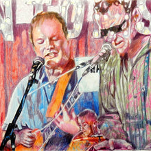 Load image into Gallery viewer, The Phantoms at the Half Moon Putney pencil drawing of musicians by performer artist Stella Tooth detail