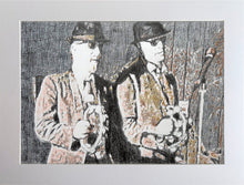 Load image into Gallery viewer, The Rawhides musicians performing at The Hideaway Streatham original pencil drawing on paper artwork by Stella Tooth display