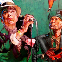 Load image into Gallery viewer, The Selecter ska band musicians performing at a show in London original artwork oil on canvas painting by Stella Tooth artist detail
