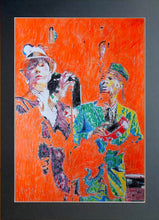 Load image into Gallery viewer, The Selecter 2 tone ska band musicians performing in London original orange mixed media artwork by Stella Tooth artist display