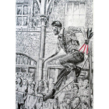 Load image into Gallery viewer, A slackliner artist performing in Covent Garden London to onlookers pencil drawing on paper by Stella Tooth portrait artist