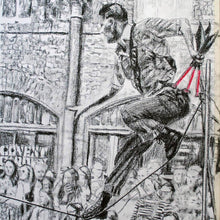Load image into Gallery viewer, A slackliner artist performing in Covent Garden London to onlookers pencil drawing on paper by Stella Tooth portrait artist detail