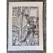 Load image into Gallery viewer, A slackliner artist performing in Covent Garden London to onlookers pencil drawing on paper by Stella Tooth portrait artist in mount