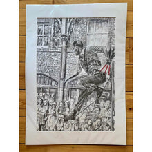 Load image into Gallery viewer, A slackliner artist performing in Covent Garden London to onlookers pencil drawing on paper by Stella Tooth portrait artist mounted
