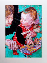 Load image into Gallery viewer, The Smartest Giant in Town by Stella Tooth is a charming original pencil on paper drawing of a little girl and her mum reading a book display