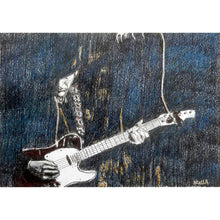 Load image into Gallery viewer, The Trembling Wilburys musicians performing at the Half Moon Putney mixed media drawing on paper artwork by artist Stella Tooth