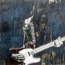Load image into Gallery viewer, The Trembling Wilburys musicians performing at the Half Moon Putney mixed media drawing on paper artwork by artist Stella Tooth detail