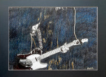 Load image into Gallery viewer, The Trembling Wilburys musicians performing at the Half Moon Putney mixed media drawing on paper artwork by artist Stella Tooth display
