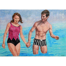 Load image into Gallery viewer, The Young Ones seaside swimmers pencil on paper in aqua blue deep pink and black by London based portrait artist Stella Tooth