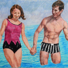 Load image into Gallery viewer, The Young Ones seaside swimmers pencil on paper in aqua blue deep pink and black by London based portrait artist Stella Tooth detail