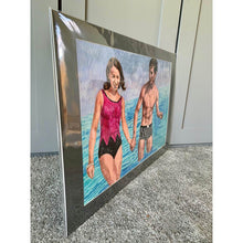 Load image into Gallery viewer, The Young Ones seaside swimmers pencil on paper in aqua blue deep pink and black by London based portrait artist Stella Tooth side
