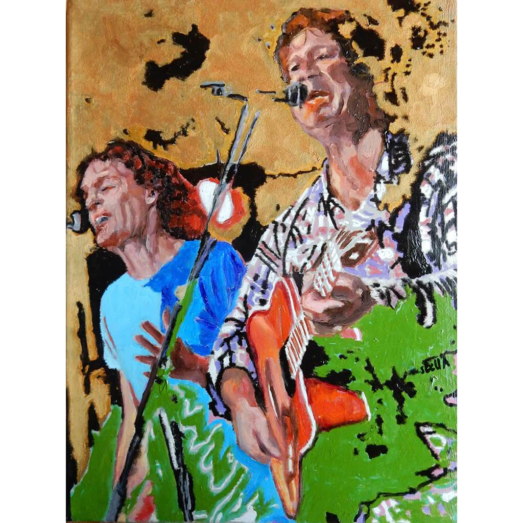 The Fabulous Electric Zimmermen band performing at the Half Moon Putney oil on canvas painting by artist Stella Tooth