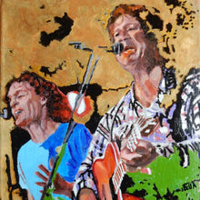 Load image into Gallery viewer, The Fabulous Electric Zimmermen band performing at the Half Moon Putney oil on canvas painting by artist Stella Tooth detail