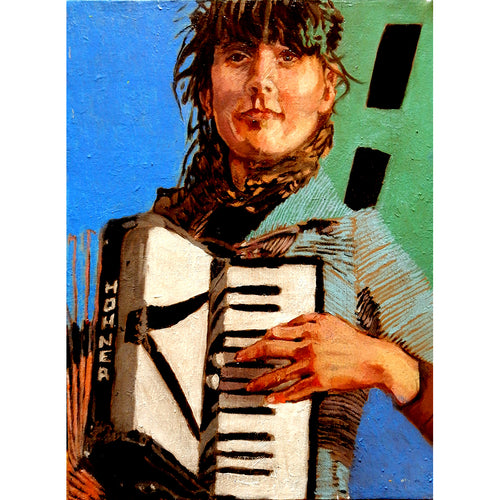The accordion player in blue oil on canvas artwork by Stella Tooth