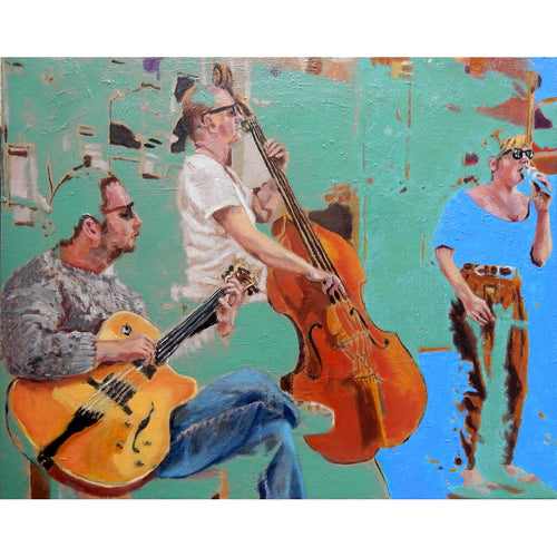 The SO Trio performing in Brighton oil on canvas artwork by Stella Tooth