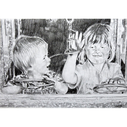 Tim Beeson-Jones and sister pencil on paper by Stella Tooth
