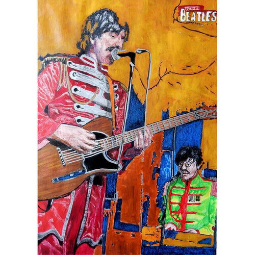 Ultimate Beatles at the Half Moon Putney Mixed media on paper of musician by London based performer artist Stella Tooth