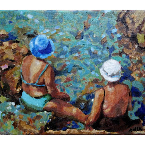 Vecchie Amiche in Ischia by Stella Tooth original oil painting of two sunbathing ladies by Mediterranean waters in Italy