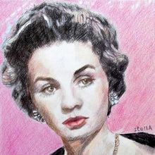Load image into Gallery viewer, Vivien Leigh actress portrait pencil on paper in pink and black by London based artist Stella Tooth detail