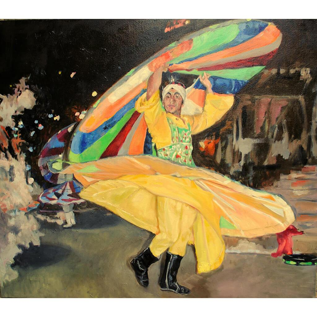 Turkish whirling dervish dancer performing in Turkey original artwork oil on canvas painting by Stella Tooth artist