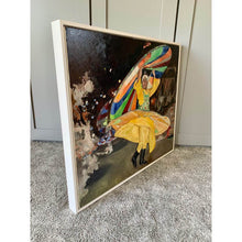 Load image into Gallery viewer, Turkish whirling dervish dancer performing in Turkey original artwork oil on canvas painting by Stella Tooth artist side