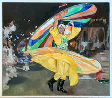Load image into Gallery viewer, Turkish whirling dervish dancer performing in Turkey original artwork oil on canvas painting by Stella Tooth artist display