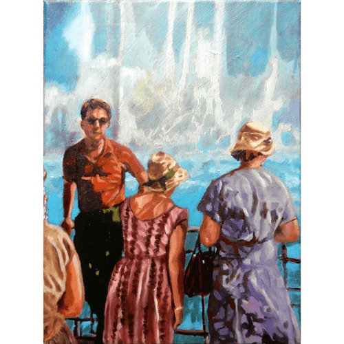 White water oil painting on canvas of tourists standing by the Niagara Falls by London based portrait artist Stella Tooth