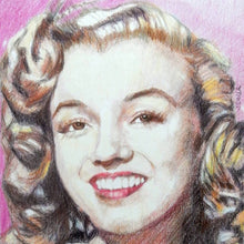 Load image into Gallery viewer, Portrait of Marilyn Monroe in her youth pencil on paper in frame by London based portrait artist Stella Tooth detail