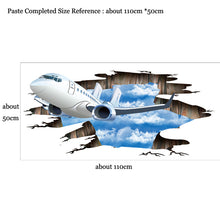 Load image into Gallery viewer, 3D airplane flying in the sky sticker breach effect