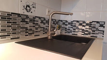 Load image into Gallery viewer, 3D white, gray and black rectangular mosaic tiles epoxy stickers
