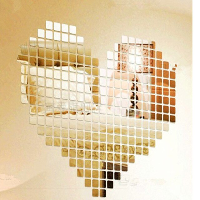 3D square tiles mosaic mirror stickers