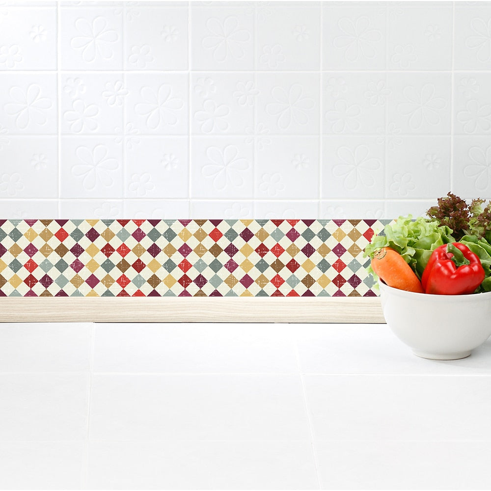 Wallpaper frieze sticker square mosaic tiles imitation