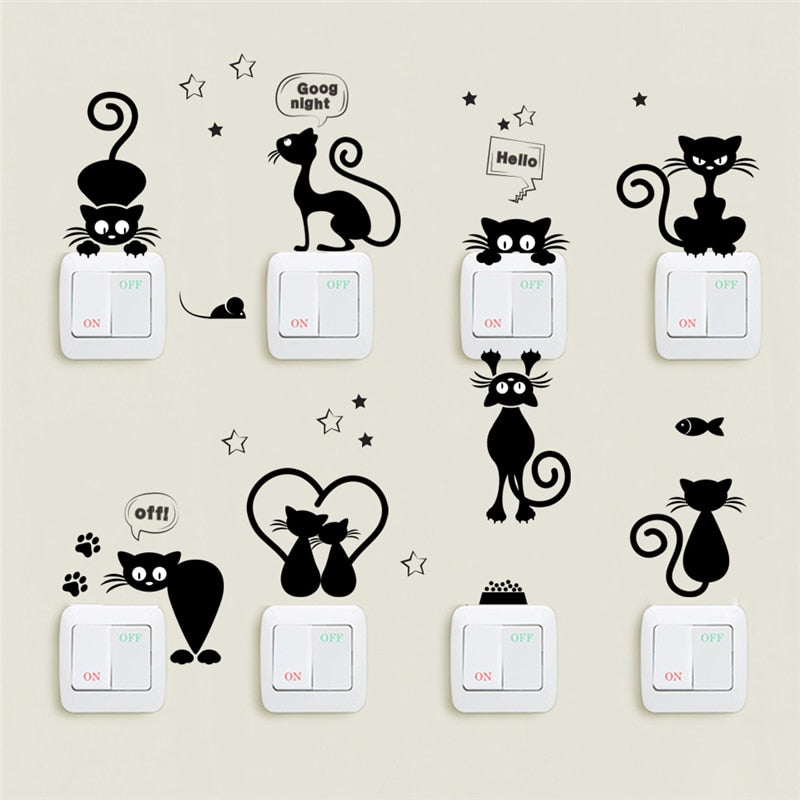 Switch, phone, wall stickers black cat in various positions