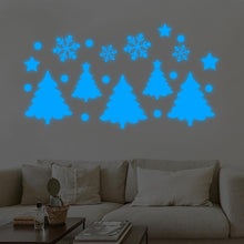 Load image into Gallery viewer, Glow in the dark Christmas trees and snowflakes stickers