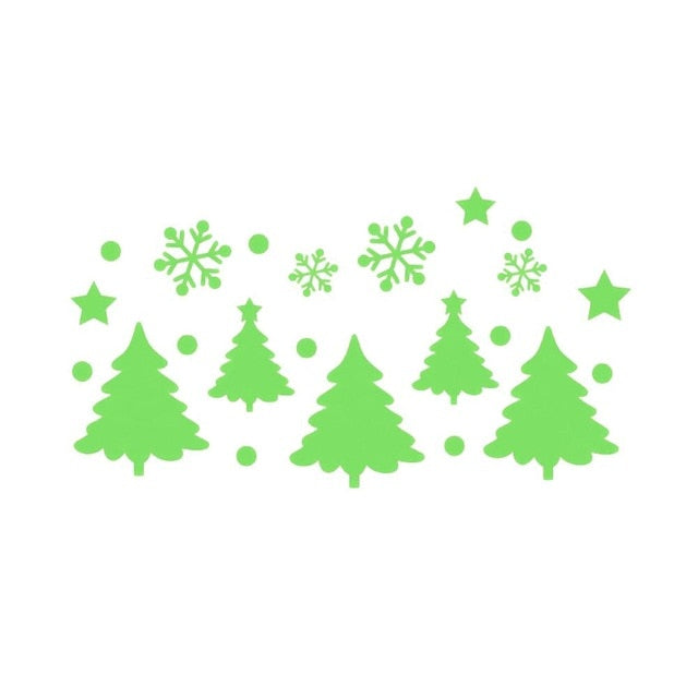 Glow in the dark Christmas trees and snowflakes stickers