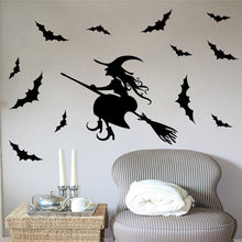 Load image into Gallery viewer, Halloween bats and witch stickers