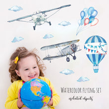 Load image into Gallery viewer, Airplane, clouds and hot air balloon stickers