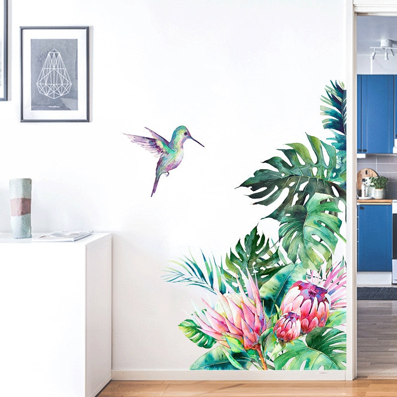 Tropical leaves, flowers and bird sticker