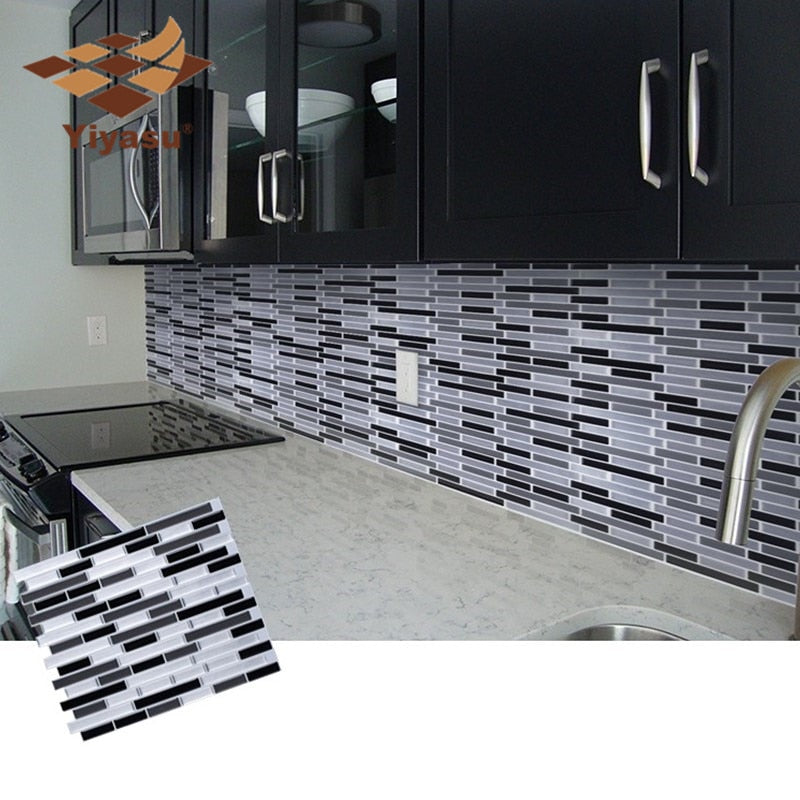 3D white, gray and black rectangular mosaic tiles epoxy stickers