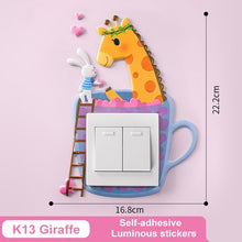 Load image into Gallery viewer, Glow in the dark switch stickers (koala, rabbit, cat, flamingo, unicorn, lion, dog, chick, elephant, bear, giraffe, mouse, plant, carrot)