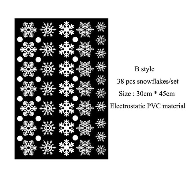 Electrostatic window stickers white snowflakes