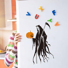 Load image into Gallery viewer, Pumpkin lantern and scythe death ghost sticker