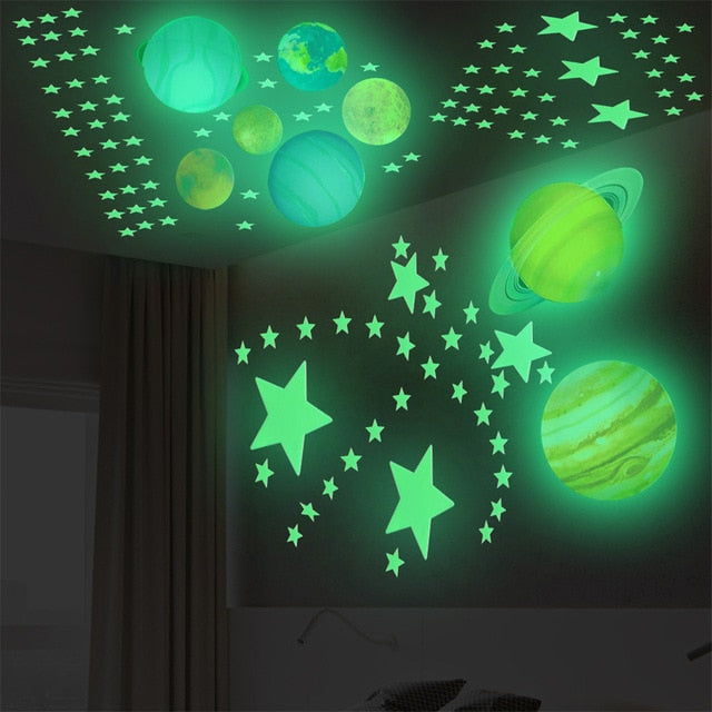 Glow in the dark planets and stars stickers